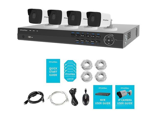 LaView 4MP 2688 x 1520P Full PoE IP Camera Security System, 8 Channel H.265 NVR w/ 4K Output, 4 x 4MP Full HD (2688 x 1520) In / Outdoor IP Cameras (No HDD Included, Sold Separately)