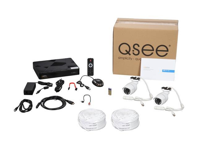 Q-See 4MP PoE IP Camera Security System, 4 Channel H.265 NVR w/ 2K Output, 2 x 4MP Full HD (2560 x 1440) H.265 In / Outdoor PoE IP Cameras (No HDD Included)