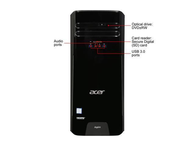 Acer Desktop Computer TC-780-NESelecti5 Intel Core i5 7th Gen 7400 (3.00 GHz) 8 GB DDR4 256 GB SSD Intel HD Graphics 630 Windows 10 Home 64-Bit