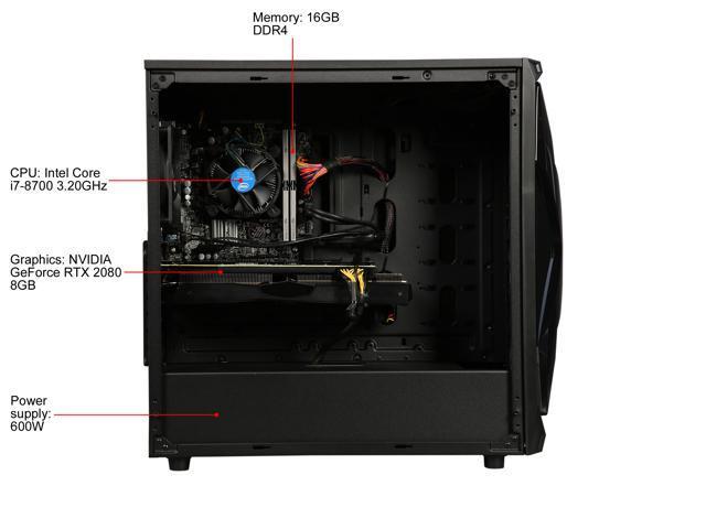 ABS Gem - Intel i7-8700 - GeForce RTX 2080 - 16GB DDR4 - 240GB SSD - 1TB HDD - Gaming Desktop PC