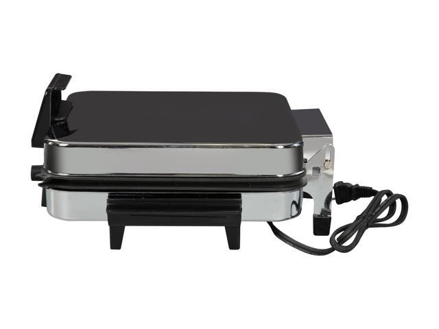 Elite Cuisine 1200-Watt Breakfast & Waffle Griddle with Temperature Control, Chrome EBG-980