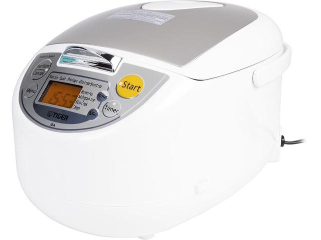 Tiger JBA-T10U Micom Rice Cooker with Food Steamer & Slow Cooker, White, 11 Cups Cooked / 5.5 Cups Uncooked Made in Japan