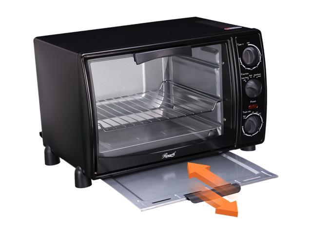 Open Box: Rosewill RHTO-13001 6-Slice Black Countertop Toaster Oven Broiler with Drip Pan, Capacity 0.8 cu ft