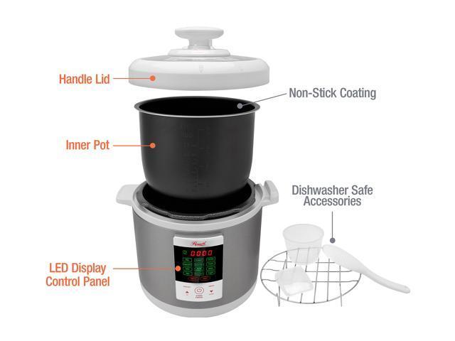 Rosewill 6 Qt. Electric Pressure Cooker, 8-in-1 Programmable Multi Cooker: Slow Cooker, Rice Cooker, Pressure Cooker, Food Steamer, Sauté, Yogurt Maker, Deep Fryer, Warmer w/ Non-Stick Pot
