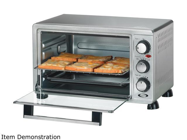 Rosewill 6-Slice Convection Toaster Oven Countertop, Stainless Steel, Large Capacity for 12 Inch Pizza with Bakeware Pan Broiler Rack RHTO-17001