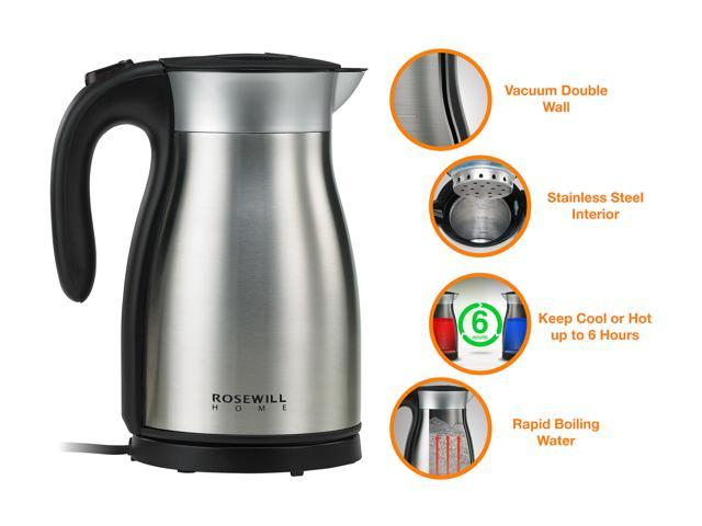 Open Box: Rosewill RHKT-17001 1500W Stainless Steel Double Wall Vacuum Insulated Electric Kettle, Keep Hot Thermal Pot, 1.7 L