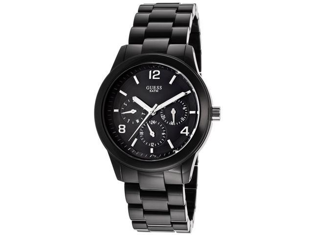 Guess W11603L2 Stainless Steel Case Plastic Resin Link Bracelet Black Tone Dial