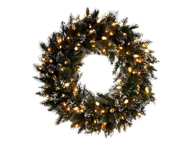 "24"" Glittery Bristle Pine Wreath with Warm White LED Lights"