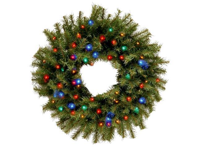 """24"""" Norwood Fir Wreath with Battery Operated Multicolor LED Lights"""