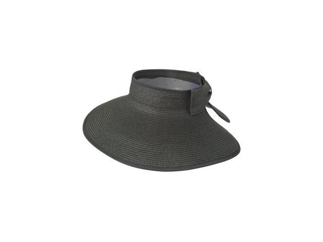 ddc443e0 Luxury Lane Women's Black Wide Brim Straw Sun Visor Hat ...