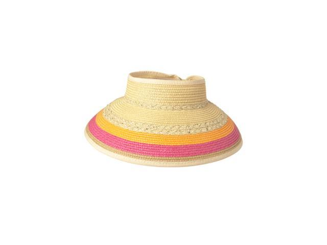 b5583344 Luxury Lane Women's Tricolor Wide Brim Straw Sun Visor Hat ...