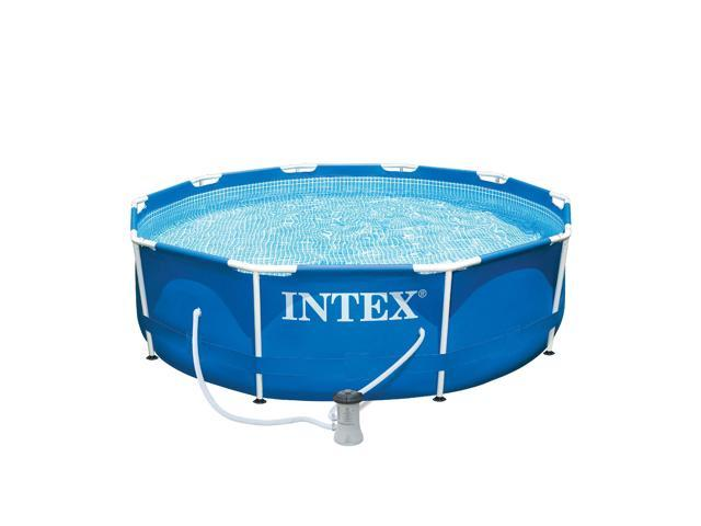 Intex 10 x 2.5 Foot Metal Frame Above Ground Swimming Pool Set with Filter Pump