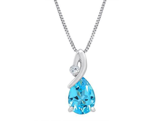 Sterling Silver 2ct TGW Swiss Blue and White Topaz Pendant Necklace