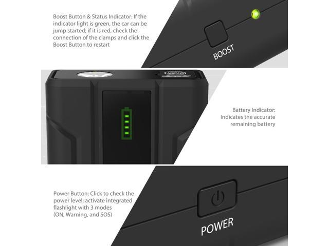 Car Jump Starter RAVPower 1000A Peak Current Quick Charge 3.0 12V (for All 12V Gas & Diesel Engines up to 7L) Power Bank with 2.4A iSmart Ports Built-in LED Flashlight Battery Booster