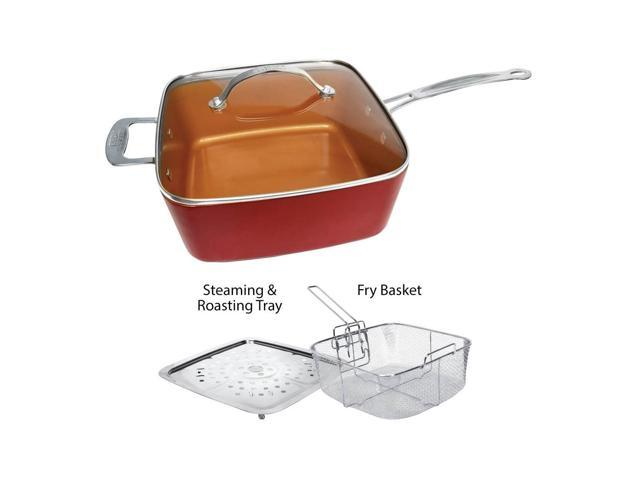 Red Copper Non-Stick 5-Piece Ceramic Copper-Infused Cookware Set w/ Recipe Book
