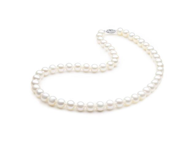 """Mabella Fashion HT-P3A1401 17.5"""" Freshwater Pearl Necklace 8-8.5mm AAA Quality 14k Solid White Gold Clasp"""