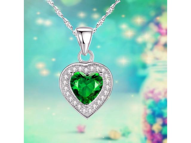 """Mabella 2.0cttw Heart Shaped 8mm x 8mm Created Emerald Pendant in Sterling Silver with 18"""" Chain"""