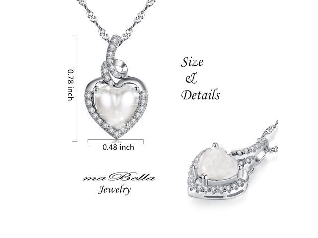 "Mabella 2.0cttw Heart Shaped 8mm x 8mm Simulated Pearl Pendant in Sterling Silver with 18"" Chain"