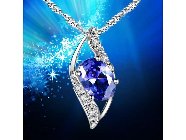 "Mabella 0.78 Cttw Oval Cut 7mm*5mm Created Blue Sapphire Pendant Sterling Silver with 18"" Chain"