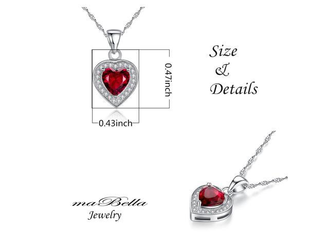"""Mabella 1.62 cttw Heart Shaped 7mm x 7mm Created Ruby Pendant in Sterling Silver with 18"""" Chain"""
