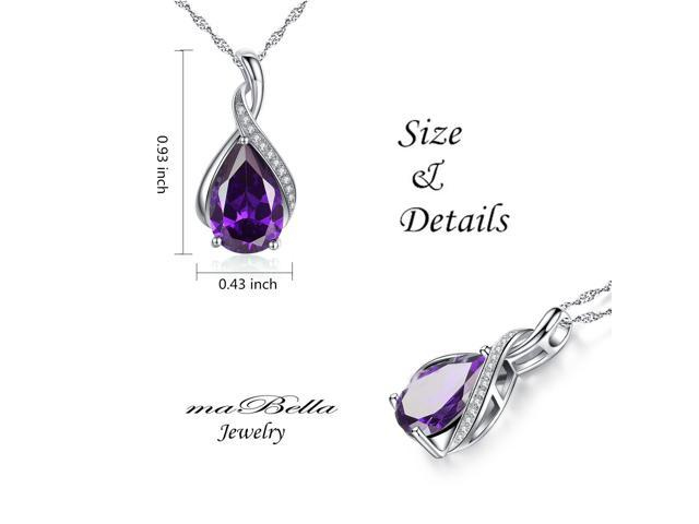 """Mabella .925 Sterling Silver 3.15 Cttw (8mm*12mm) Pear Cut Created Amethyst Necklace Pendant 18"""" Chain"""