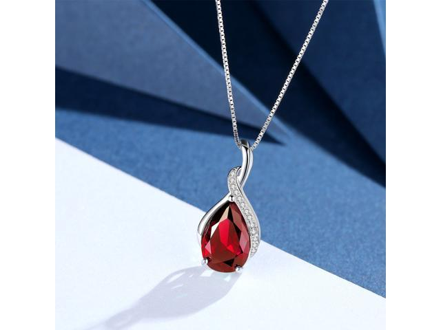 """Mabella .925 Sterling Silver 3.15 Cttw (8mm*12mm) Pear Cut Created Ruby Pendant with 18"""" Chain"""