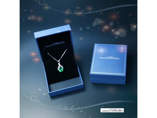 """Mabella .925 Sterling Silver 3.15 Cttw (8mm*12mm) Pear Cut Created Emerald Necklace Pendant 18"""" Chain"""