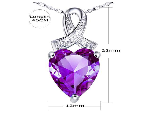 "Mabella .925 Sterling Silver 6.06 Cttw (12mm*12mm) Heart Cut Created Amethyst Pendant with 18"" Chain"