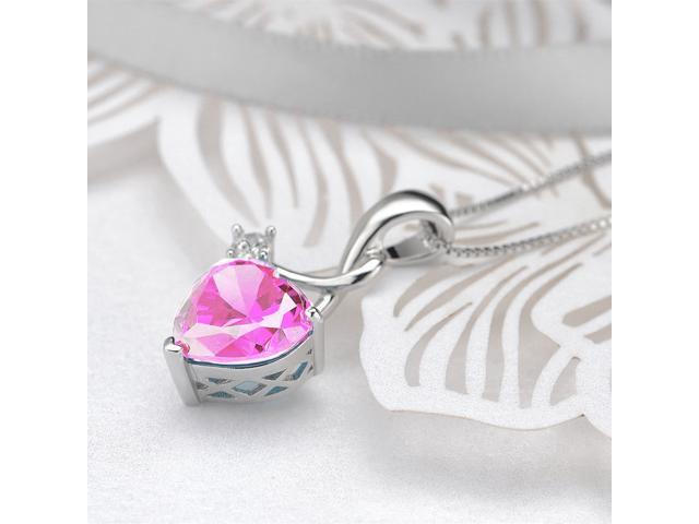 """Mabella 4.03 cttw Heart Shaped Created Pink Sapphire Sterling Silver Pendant with 18"""" Chain"""