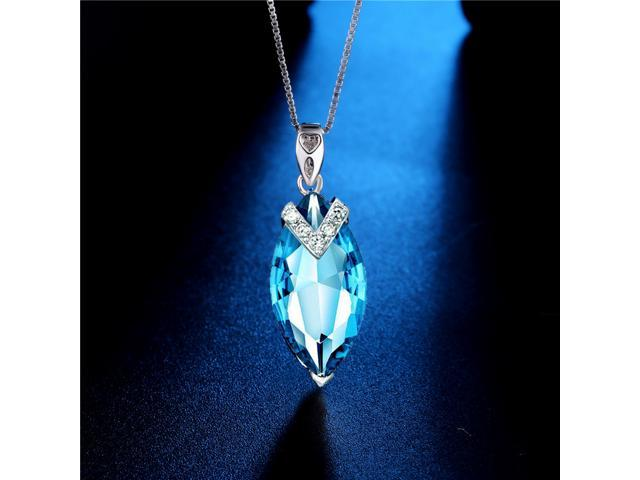 Mabella PWS005CT 7.96 CTW Marquise Cut 20mm x 10mm Created Topaz Sterling Silver Pendant Necklace