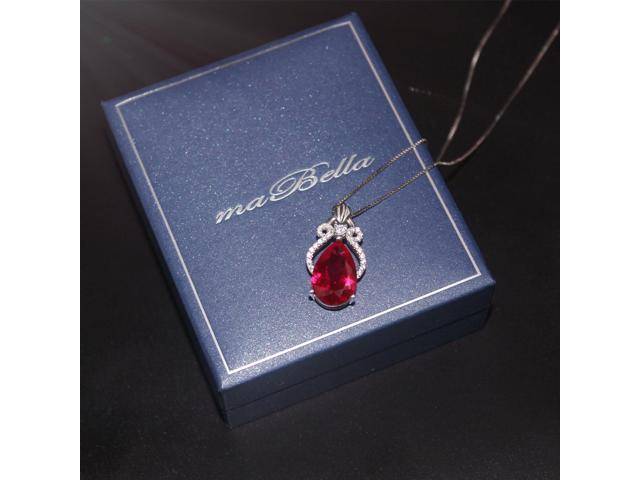 "Mabella 6.15 cttw Pear Cut 10mm x 15mm Created Ruby Sterling Silver  Pendant with 18"" Chain"