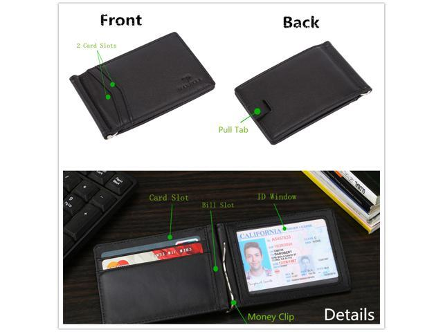 Mabella Men's RFID Blocking Genuine Leather Bifold 2 ID Window Travel +  Slim Thin Money Clip Front Pocket Wallet, Gift for Men - Black
