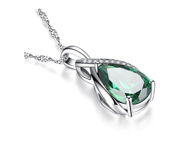 "Mabella .925 Sterling Silver 3.15 Cttw (8mm*12mm) Pear Cut Created Emerald Necklace Pendant 18"" Chain"