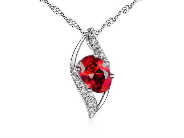 "Mabella 0.78 Cttw Oval Cut 7mm*5mm Created Ruby Pendant Sterling Silver with 18"" Chain"