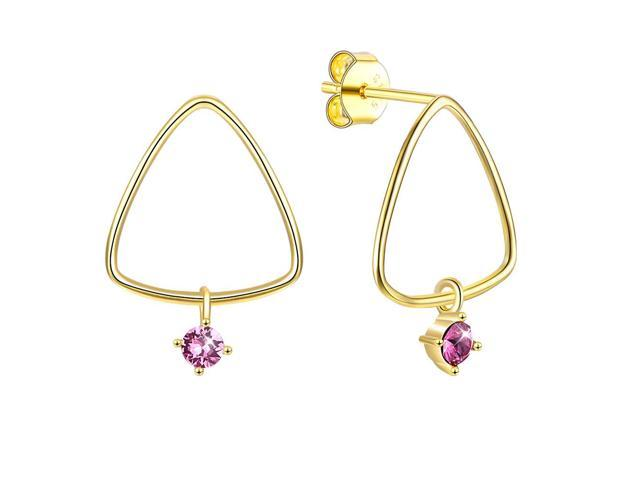 96e262336 MABELLA Sterling Silver Star Drop Dangling Stud Earrings 18K Gold Plated  Triangle Embellished with Crystals from ...