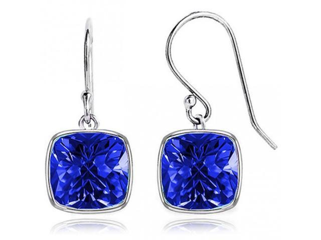 SIGHTHOLDERDIAMONDS 4.00 CTW Cushion Shaped Sapphire Drop Earrings in Solid Sterling S
