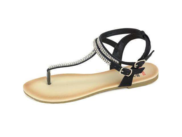 c54916b424af ... Alpine Swiss Women s Gladiator Sandals T-Strap Slingback Roman  Rhinestone Flats ...