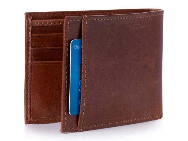 Alpine Swiss Mens Thin Bifold Wallet Top Grain Leather EZ Access Outer Card Slot