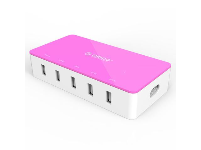 ORICO 40W 5-Port USB Charger 2 x 5V2.4A Super Charger & 3 x 5V1A Regular Ports OTG to Android or Windows Smartphones, Tablets, iPhone, iPad - Pink (CST-5U)