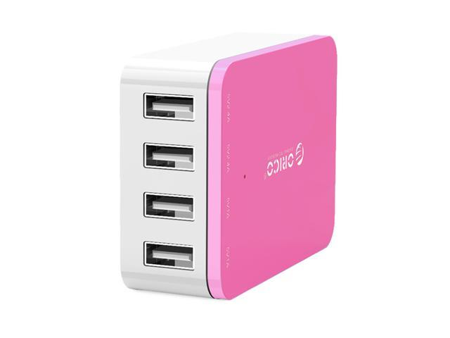 ORICO CSI-4U 20W 4-Port Family-Sized Desktop USB Charger with 2 Prong Power Cord for iPhone 6 6 Plus 5 5C 5S, iPad Air Mini, Galaxy S4 S5, Note 2 3, HTC One (M8), Nexus and More - Pink
