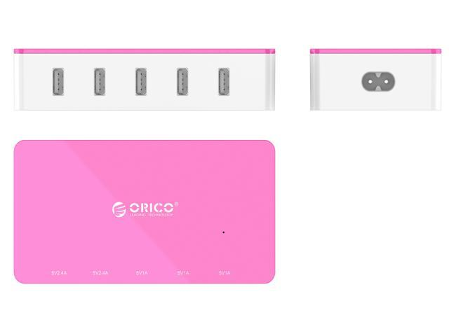 Orico Electrical 5 Port Desktop USB Charger ( with 2 Prong Power Cord ) All-in-One Charger  30W power output for Tablet iPhone 7/ 6s/ Plus, iPad Air, Galaxy, Note 2/ 3, HTC, Nexus - Pink  (CSH-5U)
