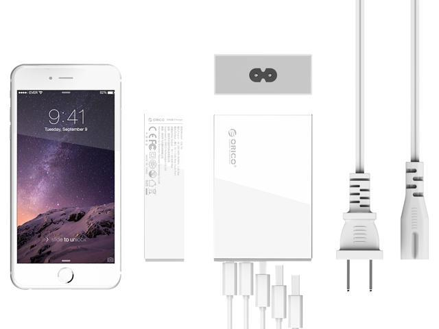 ORICO CSL-5U-US 40W 5 Ports USB Charger with Fast Charging Technology for iPhone 6 / 6 Plus, iPad Air 2 / Mini 3, Galaxy S6 / S6 Edge, Nexus, HTC M9, Nokia and More -White