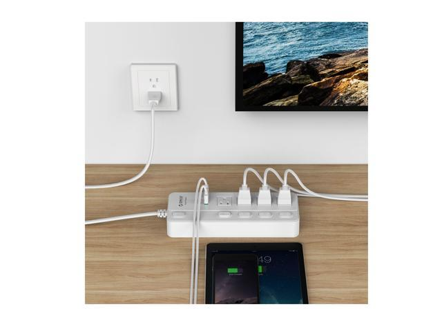 ([with Individual On/Off Switches ]Surge Protector 4 Outlets 2 USB Ports ...