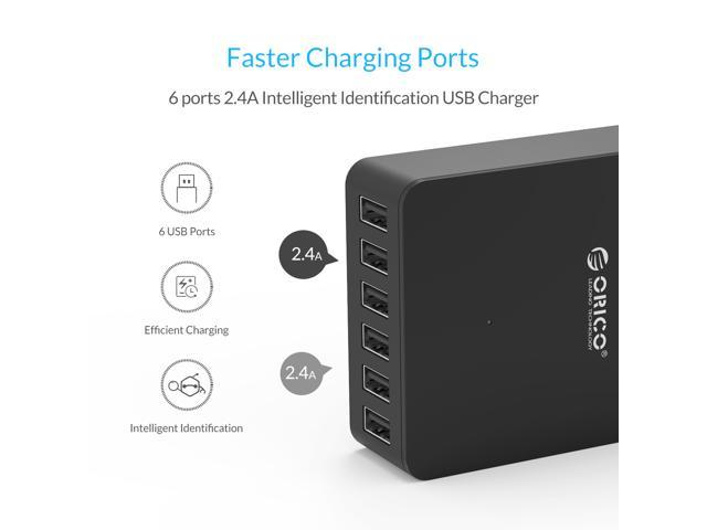 ORICO Portable 6 Ports Desktop & Travel 5V 2.4A USB Charger 50W 5V/10A Smart Super Charger Intelligent Detective IC for iPhone 7 / 7 Plus / 6S / 6S Plus / 5SE / iPad / LG / Samsung / HTC - Black