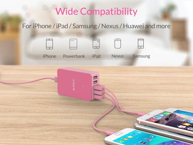 ORICO Pocket-Sized 5 Ports Desktop & Travel USB Charger 40W 5V/8A Smart Super Charger Intelligent Detective IC for iPhone 7/7Puls /6S/6S P/5SE/iPad/LG/Samsung/HTC - Pink (CSE-5U-US)