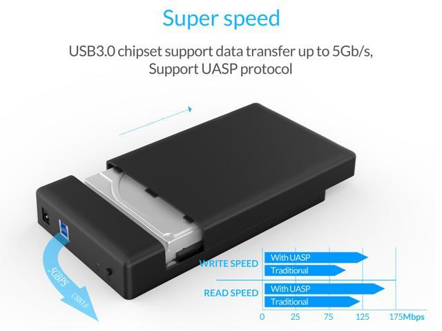 [ Support UASP and 8TB Drives ] ORICO Tool Free USB 3.0 to SATA External Hard Drive Enclosure case for 3.5inch  SATA HDD and SSD -Black (3588US3)