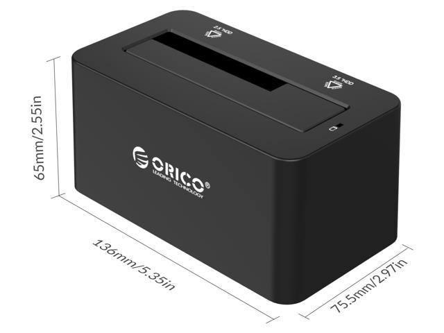 """ORICO SuperSpeed USB3.0 & eSATA to SATA External Hard Drive Docking Station for 2.5"""" & 3.5"""" HDD, SSD Enclosure 12V2.5A Power Adapter and eSATA Data Cable Included [Support 8TB] - Black (6619SUS3-US)"""