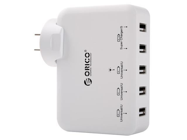 ORICO DCAP-5U 5-Port USB Wall Charger Adapter for iPhone 7/7Plus/6S/6S P/5SE/iPad/LG/Samsung/HTC/Nexus and More - White