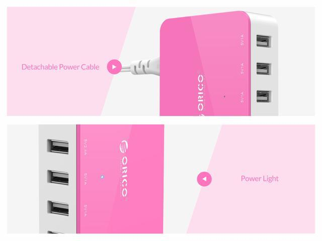 ORICO All-in-One Charger 5 Ports USB Charger 40W power output Family-Sized Desktop USB Charger for iPhone 7, iPad, Samsung Galaxy, Nexus, HTC, Motorola, LG -Pink ( CSA-5U)