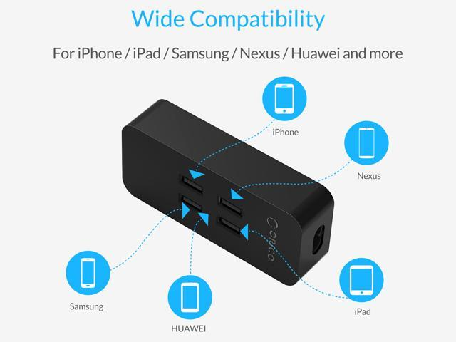 ORICO 4-Port USB Charger with Fast Charging Technology for iPhone 7/7Puls/6S/6S P/5SE/ iPad/ LG/ HTC/Samsung - Black (DCV-4U )